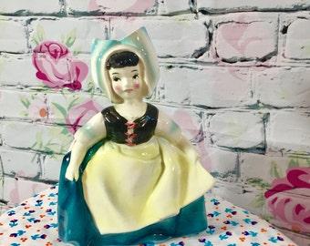 Vintage Mid Century Dutch Lady Planter, Vintage Ceramic Planter, Kitschy Planter, Dutch Girl Decor, Mid Century Home Decor, Lady Planter