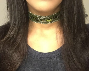 Thick Green Sequined Choker