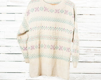 30% OFF   Vintage knitted sweater   Vintage pullover   Cotton knitting sweater   Large women   Women winter pullover   Patterned sweater