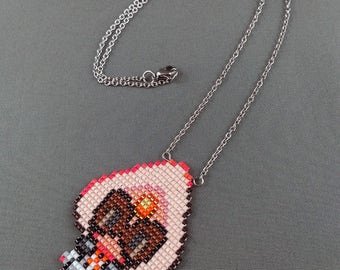 Sardonyx Necklace - Steven Universe Necklace Crystal Gems Necklace Fusion Necklace Cartoon Necklace 8bit Jewelry Geeky Necklace Seed beads