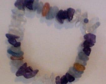 Amethyst-Aquamarine-Carnelian-Opalite Bracelet