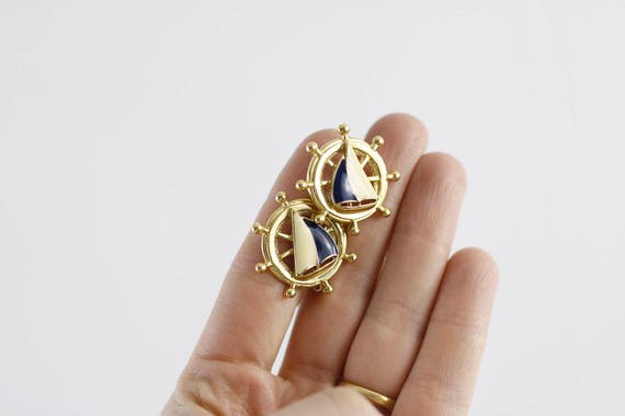 Vintage Nautical Earrings signed by Avon, Sailing boat earrings, Midcentury costume jewelry, clip-on earrings 1960s, sailing ship in wheel