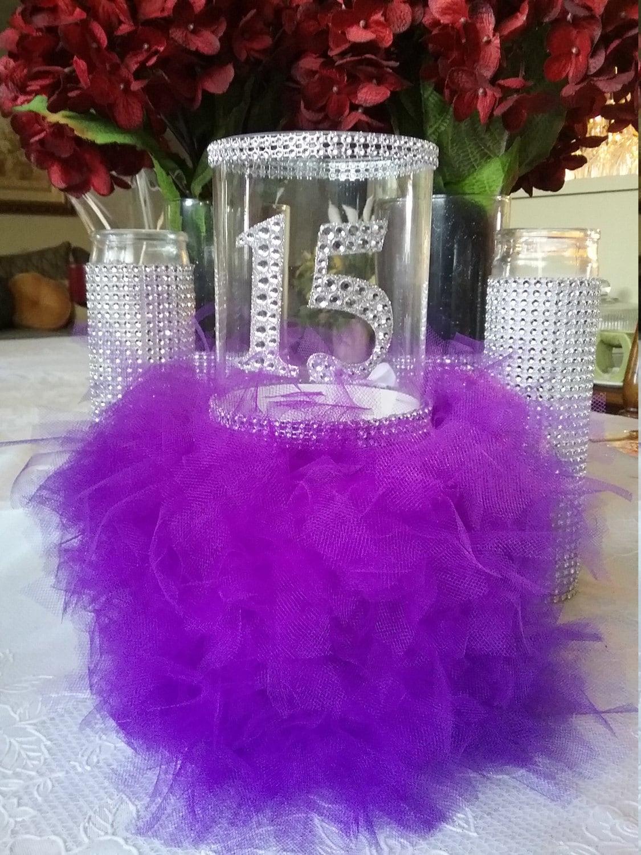 Vase Centerpiece Ideas For Parties : Happy quinceanera party vase centerpiece purple