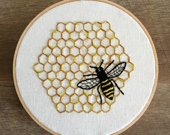 Bee hive embroidery hoop | Insect art