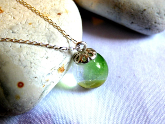 Green & Yellow Sea Glass encased in Crystal Resin Orb Pendant Necklace - PC16026
