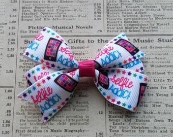 SELFIE ADDICT Hair Bow, Girls Hair Bows, Party Favors, Birthday, kawaii hair bows, teen party favors, tween party favors