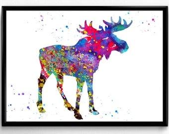 Moose, Animal, Wildlife, Nature, Colorful Watercolor, Poster, Room Decor, gift, printable wall art (433)