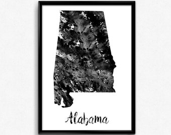 Map of Alabama, United States of America, Black and White Map, Travel, Watercolor, Room Decor, Poster, gift, Printable Wall Art (725)