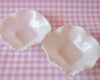 Pair Of Milk Glass Candy Dishes