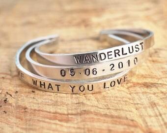 Handmade handstamped personal bracelet