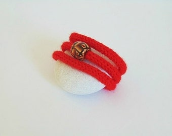 yarn bracelet yarn jewelry knitted bracelet knitt jewelry cotton bracelet boho bracelet wool bracelet red for her modern yarn christmas gift