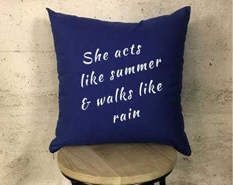 Train Drops of Jupiter Lyrics Marina Blue & White Cushion Pillow Cushion Wedding Gifts for Her Gifts for Him
