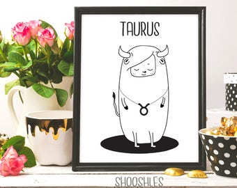 TAURUS Zodiac Sign, Taurus Constellation, Taurus illustration, Taurus Artwork, Taurus printable art, Taurus print, Zodiac sign, Ink art