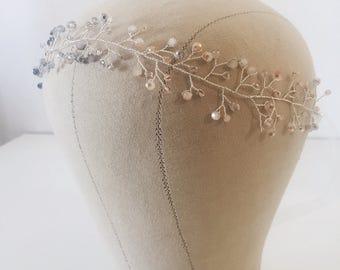 Dawn   Silver & Crystal Ombré Hair Garland   Simple and Modern Bridal Hair Jewelry   Blush, Blue, and Purple Crystal Wedding Hair Vine