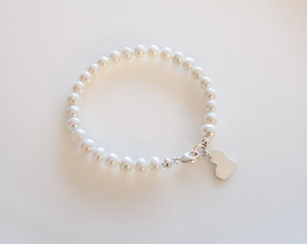 Sterling Silver Heart charm bracelet, flower girl bracelet, Freshwater Pearl bracelet, white pearl bracelet,  silver bracelet,  gift for her