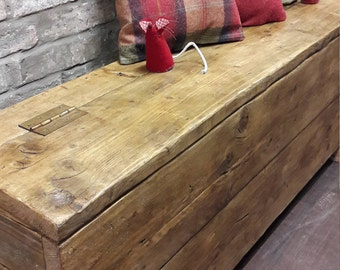 Rustic handmade reclaimed wood hall bench storage box
