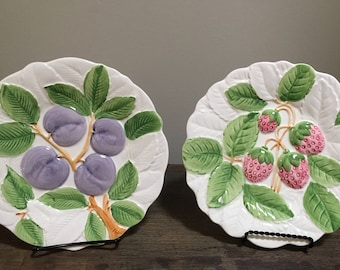 Set of 2- Shafford Fruit Du Jour- Purple Plums & Red Berries Plate- 1987 Hand Painted Ceramic Plate- Collectible Kitchen Decor