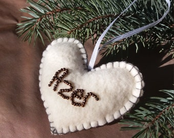 Personalized  Christmas Ornaments Heart  Christmas decoration Christmas tree ornaments Gift for her Gift for him Valentine's Day