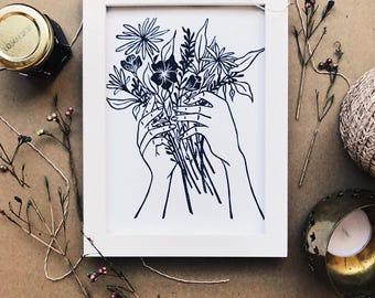 Tattoo style hand holding flowers linocut block print art print minimalist floral hand carved stamp printmaking