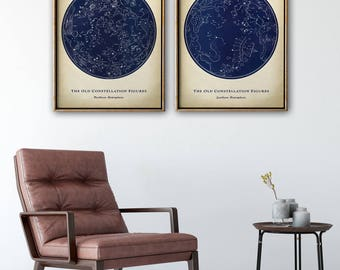 STAR MAP Astronomy  SET of 2, Old Constellation Zodical Figures Print, Stars Print, Astronomy Illustration, Astronomy Poster, Celestial Art