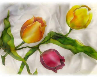 """Scarf """"fantasy of tulips"""" painted by hand, ' ' 160x50-(chiffon Scarf, spring, flowers, Tulips, Flowers, Hand Painted silk scarf)"""