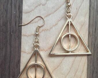 Deathly Hallows Earrings, Harry Potter Earrings, Gold Earrings, Harry Potter Jewelry