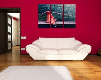Large Wall Color BridgeWall Art Bridge Multipanel Canvas  Bridge Canvas Art Large  1 or 3 Panels Digital Print