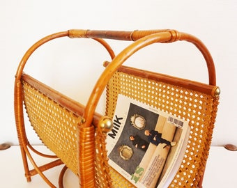 Magazine rack vintage wood caning and rattan