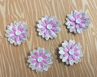 Handmade Small Paper Flowers - 5 Pack