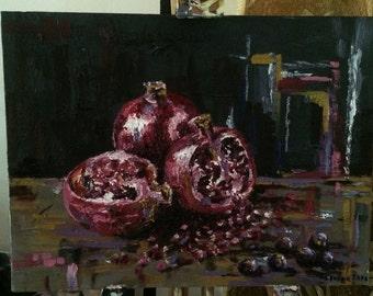Original oil painting, Still life with Pomegranates, 2016