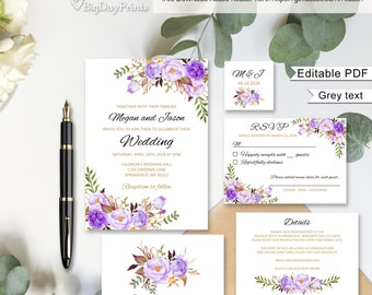 Floral Wedding Invitation Template, Purple Boho Chic Wedding Invitation Suite, Wedding Set, #A020, Editable PDF - you personalize at home.