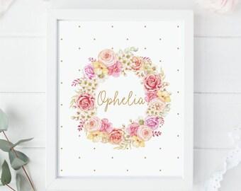 Rose Wreath Print - Floral Wreath Print - Personalized Print - Custom Wreath Print - Custom Name Print - Baby Shower Gift - Nursery Decor