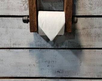 Rustic Toilet Paper Holder-Wooden Toilet Paper Holder-Industrial Pipe Toilet Paper Holder-Wall Mounted Toilet Paper Holder-