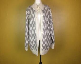 White Grey Vintage Cardigan Womens Mohair Acrylic Jacket Long Winter Cardigan Retro Mohair Acrylic Jacket