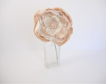 Fabric Peony, Fabric Flower in Blush and Ivory, Wedding Bouquet, Wedding Centerpiece, Wedding Accent, Peony, Brooch Bouquet, Single Stem