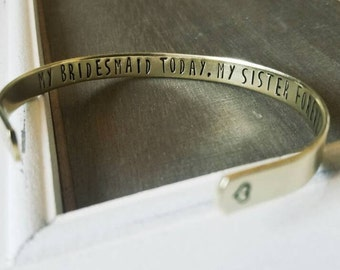 Bridesmaid Sister Bracelet - MOH Bridesmaids Gift - Hand Stamped Jewelry