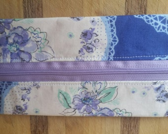Notions Pouch 'Indigo and Violet Flowers'