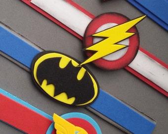 12-superhero bracelets,superhero,wrist bands,superhero party favour,set 12-superhero bracelets party favor