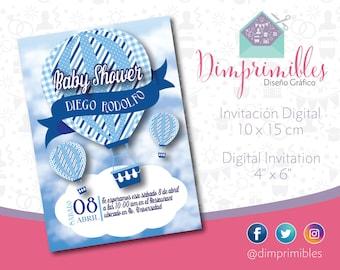 Invitation Hot Air Balloon, Invitation Balloons, Invitation Baby Shower, Invitation Printable, invitation digital