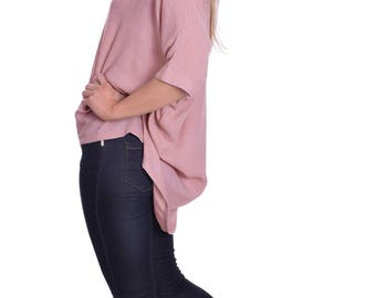 Summer Tunic Blouse Blush Pink Wide Loose Fit 3/4 Sleeve Great with Leggings Casual Elegant