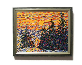 Snowy painting art Snowy mountains Snowy art Winter artwork Winter tree painting Snowy painting Snowy landscape Straightedgism style