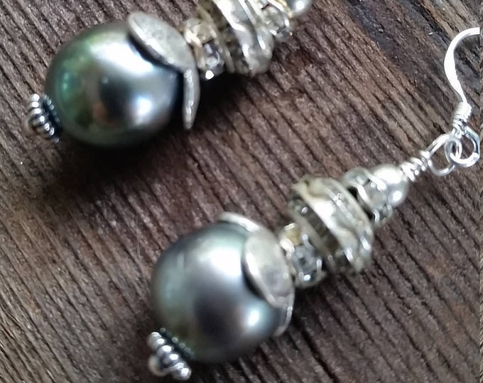 Earrings with Beautiful and Well Matched Tahitian Pearls in a Grayish Pinkish Color Combined with Rhinestones and Sterling Silver