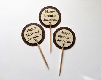 Personalized Louis Vuitton Inspired Cupcake Toppers