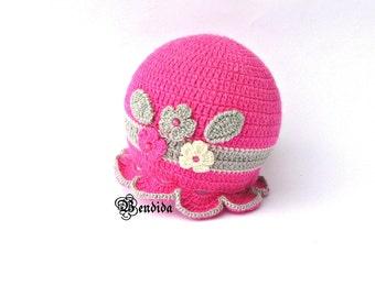 Crochet Baby Hat, Baby Girl Hat, Pink Crochet Hat, Pink Baby Girl Hat, Winter Brim Hat, Flowers Baby Hat, Baby Girl Beanie, Pink Baby Beanie