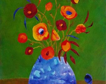 Still Life with Peekaboo Flower - original mixed media painting  on canvas