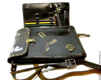 """Bag Steampunk """"Che Guevara"""" of leather and canvas upper"""