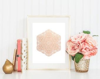 Mandala Foil Print - Geometric Foil Print (#133) Gold Foil Print