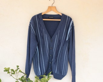 Vintage Blue And Grey Striped Cardigan - Size Large