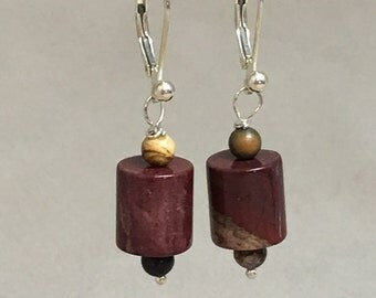 Red Jasper Drop Earrings, Leverback Hinged Earrings, Sterling Silver Earrings, Natural Stone, Earrings