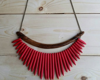 Red Howlite Spike Bib Necklace // Red Spike Necklace //  Red Bib Necklace